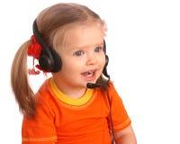 dziecka słuchawki portret fotografia stock