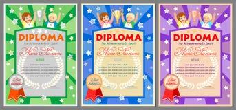 Dziecka ` s bawi się dyplom dla 1st, 2nd i 3rd miejsc, Zdjęcia Stock