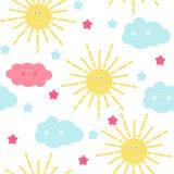 Dziecka ` s Bezszwowy Deseniowy tło z słońca, chmury i gwiazd wektoru ilustracją, ilustracji