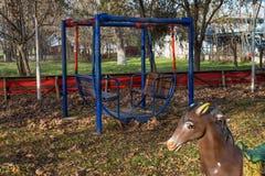 Dziecka ` s boisko w Canakkale Zima i liście cisza po lata Zdjęcia Stock