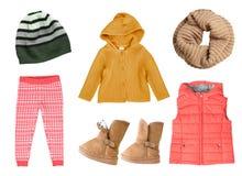 Dziecka ` s dziewczyny mody jesień dziający odzieżowy kolaż Zdjęcie Stock