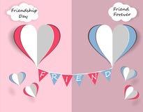 Dziecka ` s karta dla przyjaźń dnia Serca przyjaciele latają ilustracja royalty ilustracja