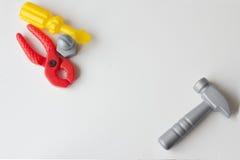 Dziecka ` s klingerytu zabawka Dziecka ` s narzędzie młot, cążki, screwdr Zdjęcie Royalty Free
