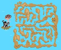 Dziecka ` s labirynt Pirata skarbu mapa Łamigłówki gra dla dzieciaków, wektorowa ilustracja Obrazy Stock