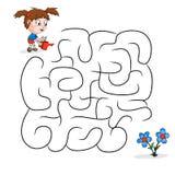 Dziecka ` s labirynt z ogrodniczką i kwiatami dzieciak gemowa łamigłówka royalty ilustracja