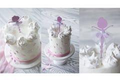 Dziecka ` s menchii tort urodziny menchii tort Wielopoziomowy urodzinowy tort Obrazy Royalty Free