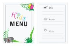 Dziecka ` s menu szablon Cukierniany menu projekt dla dzieciaków Menu dla dzieci z palmowego liścia papugą i koalla royalty ilustracja