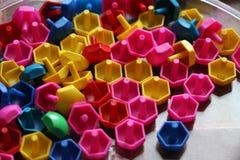 Dziecka ` s mozaika tło barwiąca dziecka ` s mozaika mali plastikowi szczegóły dziecka ` s mozaika Obrazy Stock