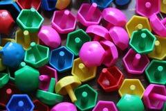 Dziecka ` s mozaika tło barwiąca dziecka ` s mozaika mali plastikowi szczegóły dziecka ` s mozaika Fotografia Royalty Free