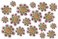 Dziecka ` s ołówkowy rysunek kwiecisty wzór w arbuzów colours zdjęcie stock