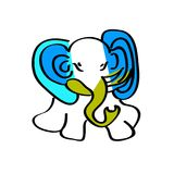 Dziecka s obrazek blue elephant Zdjęcia Stock