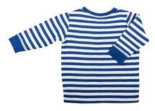 Dziecka ` s odzież - żartuje ` s błękitnego pasiastego długiego rękaw odizolowywającego zdjęcie royalty free