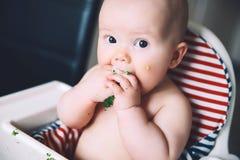 Dziecka ` s pierwszy jedzenie karmić Zdjęcie Royalty Free