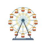 Dziecka ` s rozrywki boisko, odtwarzanie park Funfair z ferris kołem Zdjęcie Stock