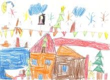 Dziecka ` s rysuje szczęśliwej rodziny Obraz Royalty Free