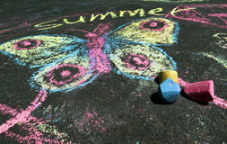Dziecka ` s rysunek lato duch na asfalcie Fotografia Royalty Free