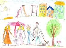 Dziecka ` s rysunkowa rodzina Dom, drzewa i ławka, ilustracja wektor