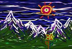 Dziecka ` s rysunku krajobraz Zdjęcia Royalty Free