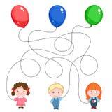 Dziecka ` s rzeszota obrazek Trzy dziecka z balonami zieleń, błękit i czerwień nici mieszają Zdjęcie Stock