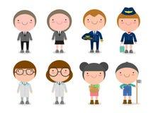 Dziecka ` s sen pracy, zawody w sen dla dzieciaków, Szczęśliwi dzieci w pracie są ubranym również zwrócić corel ilustracji wektor ilustracji