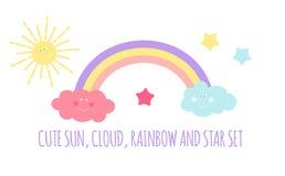 Dziecka ` s tło z słońca, chmury i gwiazd wektoru ilustracją, Obrazy Stock
