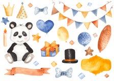 Dziecka ` s urodziny akwarelą Balony, faborek, panda, prezent, flaga, korona, kapelusz, motyl, świeczka, grają główna rolę royalty ilustracja