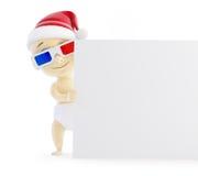 Dziecka Santa pustego miejsca 3d kapeluszowi szkła Obraz Stock
