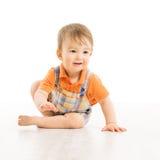 Dziecka szczęśliwy ono uśmiecha się, mała jeden rok chłopiec zdjęcie stock