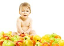 dziecka tła karmowy makaronowy surowy biel Dziecka obsiadanie wśrodku owoc nad białym tłem On Zdjęcia Royalty Free