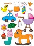 dziecka tła kartotek jedzenia owoc ilustracja odizolowywający przedmioty projektują tam wektorowych zabawek warzywa Obraz Royalty Free