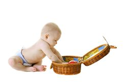 dziecka tła koszykowy mały biel Zdjęcie Stock