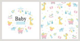 dziecka tła królika karty śliczny kwiecisty prysznic tekst ilustracji