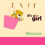 dziecka tła królika karty śliczny kwiecisty prysznic tekst Obraz Stock