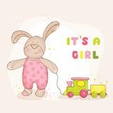 dziecka tła królika karty śliczny kwiecisty prysznic tekst Zdjęcie Stock