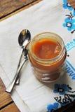 dziecka tła karmowy makaronowy surowy biel Owocowy puree Obraz Stock