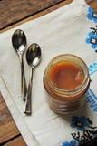 dziecka tła karmowy makaronowy surowy biel Owocowy puree Zdjęcia Stock