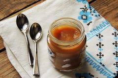 dziecka tła karmowy makaronowy surowy biel Owocowy puree Fotografia Royalty Free