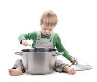 dziecka tła kucharstwa odosobniony biel Zdjęcie Stock