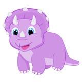 Dziecka triceratops dinosaura Dino kreskówki wektorowego ilustracyjnego Szczęśliwego zwierzęcego Dziewczęcego postać z kreskówki  Fotografia Stock