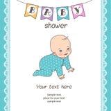 dziecka urodzonej chłopiec karty nowa prysznic Zdjęcia Royalty Free
