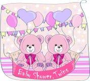 dziecka urodzonej chłopiec karty nowa prysznic bliźniaki Obrazy Royalty Free