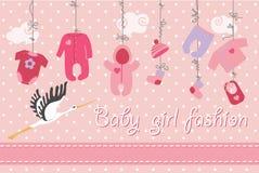 Dziecka urodzony odzieżowy obwieszenie na drzewie Chłopiec moda ilustracja wektor