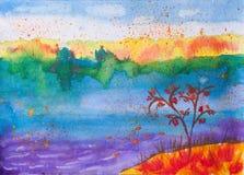 Dziecka watercolour obrazek o jesieni naturze Zdjęcia Royalty Free