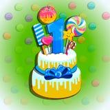 Dziecka wszystkiego najlepszego z okazji urodzin kartka z pozdrowieniami Wektorowy ustawiający kolorowi listy, liczby i symbole, royalty ilustracja