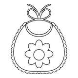 Dziecko śliniaczek z kwiat ikoną, konturu styl ilustracja wektor