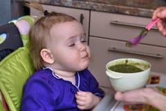 Dziecko żywieniowa łyżka fotografia royalty free