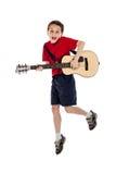 Dziecko Bawić się gitarę Obrazy Royalty Free