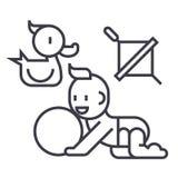 Dziecko bawić się, kaczka, dziecko, piłka, whirligig wektoru linii ikona, znak, ilustracja na tle, editable uderzenia royalty ilustracja