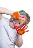 dziecko bawić się z jaskrawym obrazy royalty free
