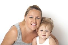 Dziecko bawić się z jego mamą Fotografia Stock